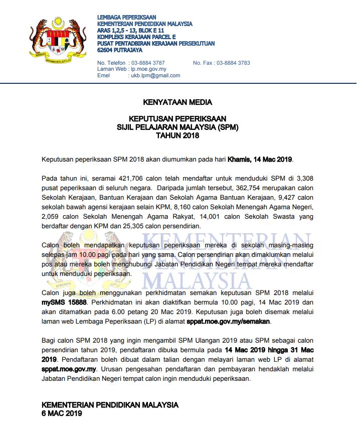 Keputusan Peperiksaan Sijil Pelajaran Malaysia Spm Tahun 2018